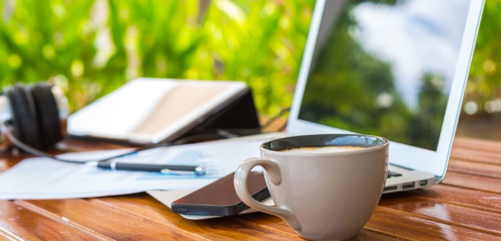 laptop, coffee, writing - becoming internet famous june 2020 income report